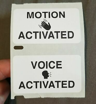 """""""VOICE / MOTION ACTIVATED"""" 25-1000 Pack Stickers Gag prank sticker"""