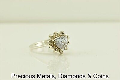 Sterling Silver 1ct Purple Heart Solitaire w/ Accents Halo Ring 925 Sz: 6