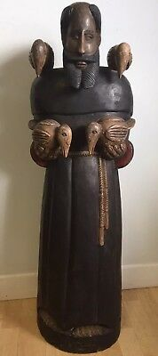 """ANTIQUE 18.C 39""""TAll WOODEN RELIGIOUS STATUE OF ST. FRANCIS OF ASSISI SIGNED"""