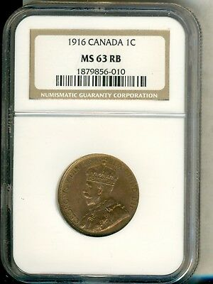 1916 Canada Large Cent 1C Ngc Ms 63 Rb
