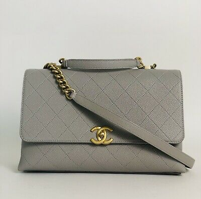 bf32647f039c Nwt Chanel Chic Affinity Too Handle Bag Grey Caviar Gold Hdw Coco Handle 19P