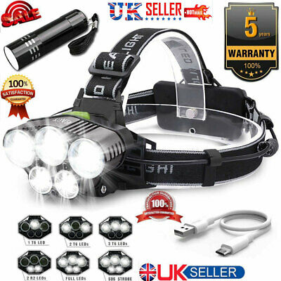 New Super-bright 90000LM T6 LED Headlamp Headlight Torch Rechargeable ==uk