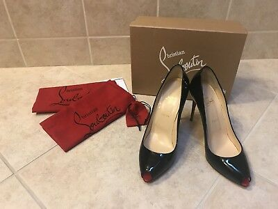 d66176f9591 $745 CHRISTIAN LOUBOUTIN Jumping 85 Nude Patent Leather Pumps Heels ...