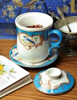 Victorian Trading Co Blue & White Bird Tea Cup Saucer & Strainer 10oz.