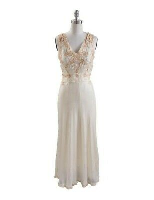 Victorian Trading Co April Cornell 1930's Ivory Satin Cordelia Evening Gown XXL