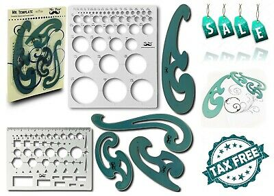 Mr. Pen French Curve and Template Ruler 6 Piece Set Stencils Drawing Template