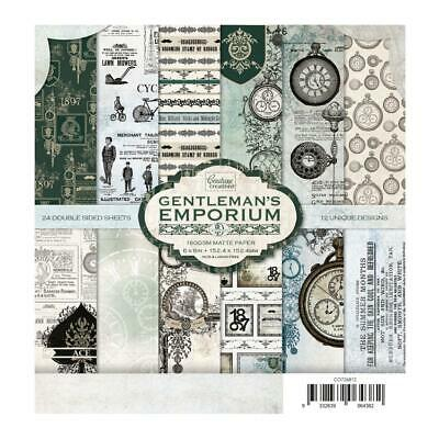 """Couture Creations 'GENTLEMAN'S EMPORIUM' 6x6"""" Paper Pk 24 Sheets Card Making"""