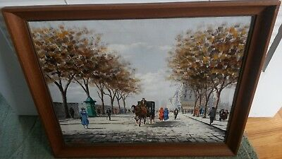 Carriage Ride in Paris  - Original Oil Painting on Canvas by French Artist Lauzi