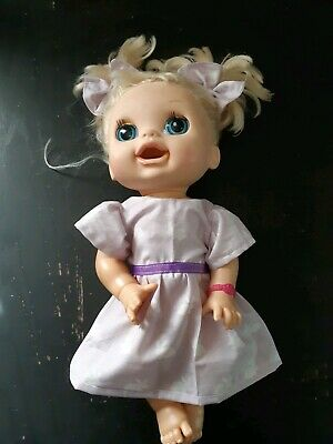 Homemade Baby Alive Purple with White Rabbits Dress and Hair Ties