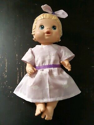 Homemade Little Baby Alive (33cm Doll) Purple with Rabbits Dress with Headband