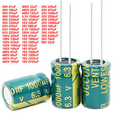 10uF-10000uF 6.3V-450V High Frequency Low ESR Radial Electrolytic Capacitor 105C
