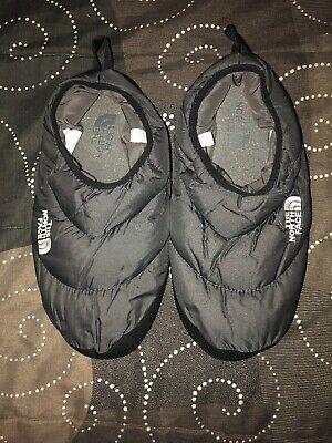 b9e9242aea52 The North Face Mens Goose Down Camping Slippers Size L 10-11.5 Gray Black