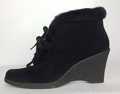 9a09f9b5e Banana Republic Womens 9 Wedge Boots Black Suede Leather Faux Fur Ankle  Booties