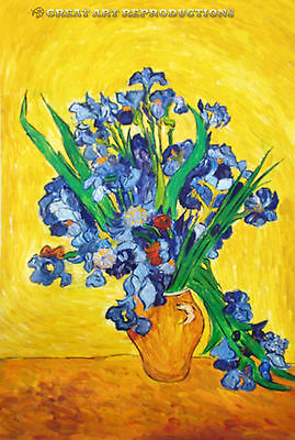 """""""Irises in a Vase Against a Yellow Background"""" van Gogh Reprod. In Oil, 36""""x24"""""""