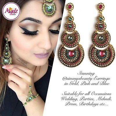 Indian Bollywood Gold Crystal Drop Dangle Chandelier Earrings Bridal Pink Blue