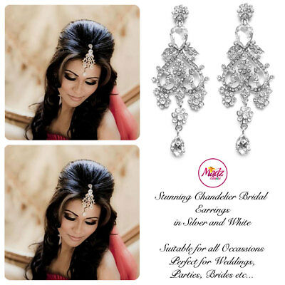 Indian Bollywood Silver Crystal Dangle Chandelier Earrings Bridal silver white