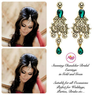 Indian Bollywood Gold Crystal Drop Dangle Chandelier Earrings Bridal Gold green