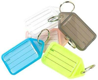 12X Merriway Assorted Colours Larger (2 inch x 1.1/4 inch) Key Tags with Labels