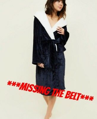 CL1# NEW LOOK Navy Hooded Borg Dressing Gown LADIES SIZE SMALL RRP £24.99