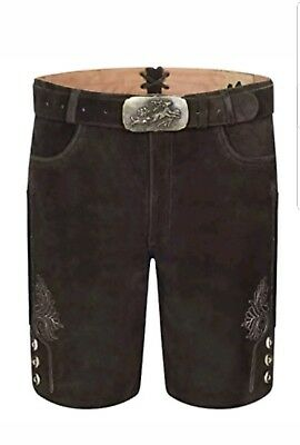 Genuine Leather Mens Bavarian Lederhosen Oktoberfest Choc Brown Short 38W