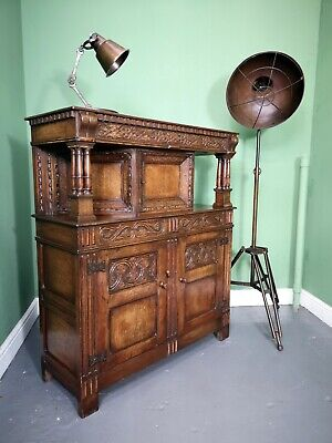 An Antique Titchmarsh and Goodwin Style Oak Court Cupboard ~Delivery Available~