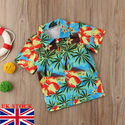 UK Hawaiian Style Kids Boys Shirts Summer Coconut tree Print Shirt Casual Beach