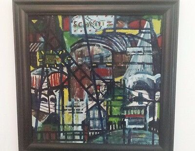 Exceptional 1960 Midcentury Abstract Graffiti Oil Painting New York Street Scene