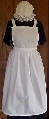 LADIES FANCY DRESS FULL  APRON & MOP CAP Victorian Tudor Edwardian Poor  WW1