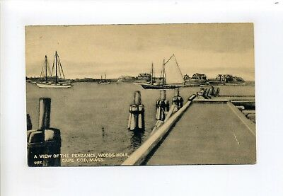 Cape Cod MA Mass Woods Hole, view of the Penzance, boats, dock, antique postcard