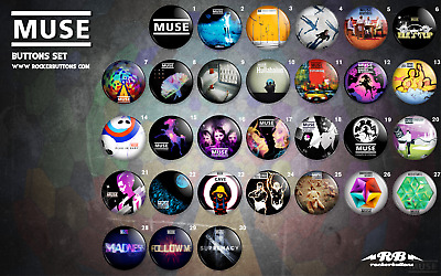 "Muse Pin Buttons Badges chapas - 1"" - 25mm/38mm indie rock vinyl"