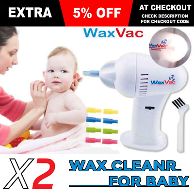 X2 Pcs Original WaxVac Ear Cleaner Wax Remover Baby Ear Cleaner Scratch Free