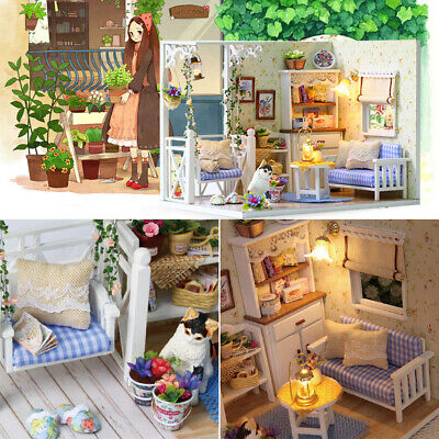 Miniature Furniture Assembling Toy DIY Doll House LED Light Wooden Children Gift
