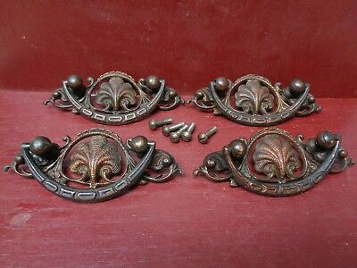 4 Fabulous Antique Heavy Cast Brass Chest Drawer Pulls Handles #0