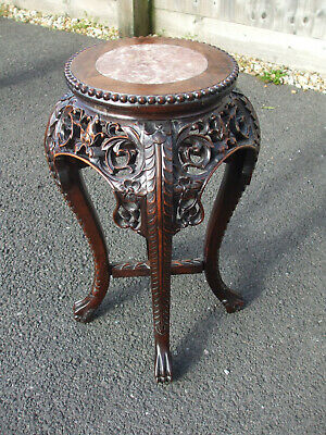 "Antique vintage Chinese carved rosewood hardwood marble top urn stand, 22"" high"