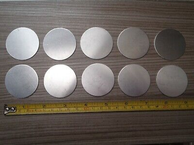 A 10 PACK OF ALUMINIUM DISCS / BLANKS 41 mm diameter x .9 mm thickness 20 gauge