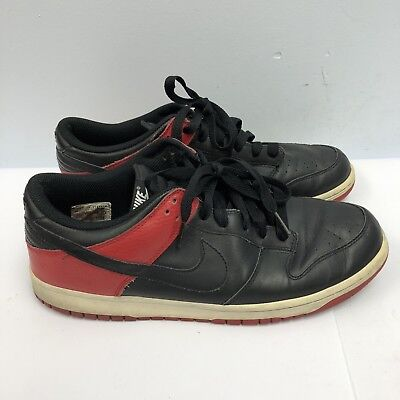 new concept 2093a f6485 Nike Dunk Low Mens Sneakers Size 8.5 Black Red Bred Basketball Shoes  311730-003