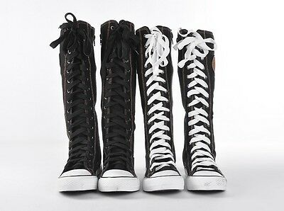Hot Womens Shoes Knee High Rock Boot Sneaker Zipper Laces Up Emo Gothic Punk New