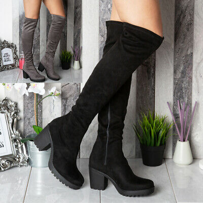 Women Ladies Thigh High Over The Knee Cleated Long Zip Block Heel Boots Shoes Sz
