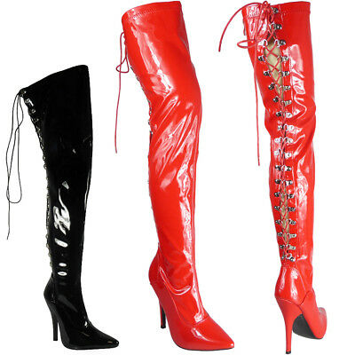 Womens Ladies Thigh High Stiletto Heel Fetish Going Out Lace Up Boots Shoes Size