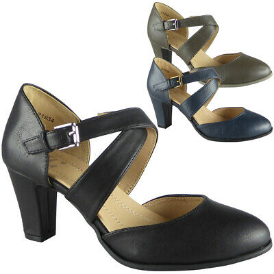 New Womens Ladies Mary Jane Court Buckle Shoes Strappy High Heel Comfy Sizes