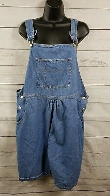 0219a1d5da216 Maternity denim Jean bib overalls shorts shortalls size Large women Summer