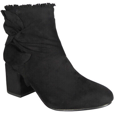 New Womens Ladies Faux Suede Zip Cuban Heel Work Ankle Bow Boots Shoes Sizes