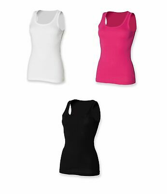 SF Women/'s High Neck Vest SK232 Ladies Fitted Sleeveless Gym Top