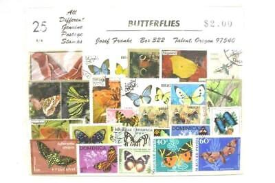 Lot of 25+ Cancelled Foreign Stamps Oman Dominica Nagaland All Butterfly Theme