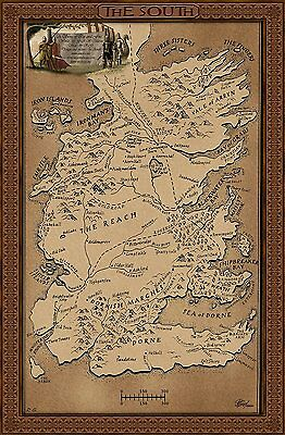 Game Of Thrones - Map Of The South / Westeros '002'
