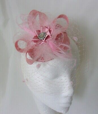 Dusky Rose Pink Sinamay Veil Feather Vintage Retro Fascinator Mini Hat Wedding