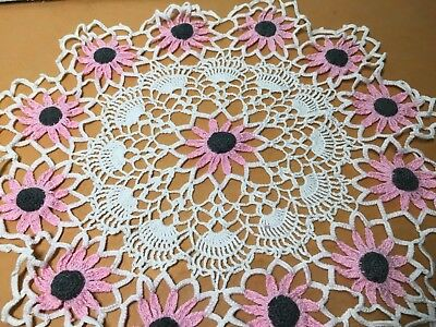 """Vintage Unique Doily Hand Crocheted white with pink daisy's 15"""" round  $REDUCED$"""