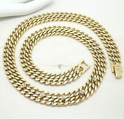 Statement Vintage 1980s Crystal Double Gold Curb Link Collar NECKLACE Jewellery