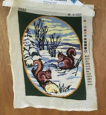 Completed Needlepoint Piece Squirrels Playing In Snow Green Blue White Brown