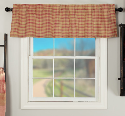 SAWYER MILL RED PLAID Valance Window Curtain Tan Farmhouse VHC Brands 16x60